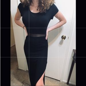 Long black Maxi Dress with Slit and Mesh